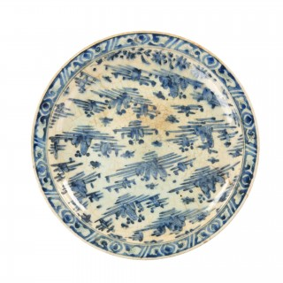 A Safavid blue and white pottery dish