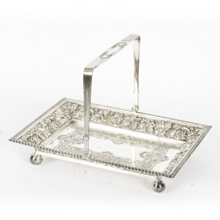 Antique Silver Plated Fruit Basket By Roberts & Belk 19th C