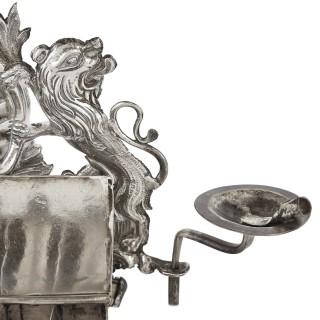 German 18th century silver Hanukkah lamp by Herfurth