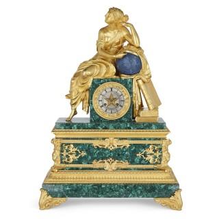 French Charles X malachite, lapis lazuli, and gilt bronze figurative clock