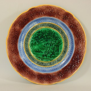 Large Wedgwood Majolica Plate with Country House Scene