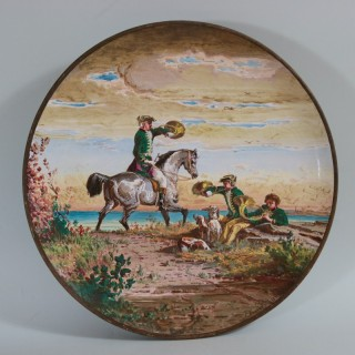 Minton Majolica Landscape Scene Wall Plate by Edouard Rischgitz
