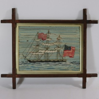Antique Sailor's Woolwork Embroidery of an American Ship