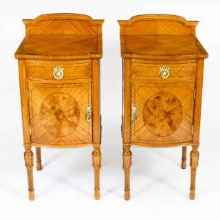 Antique Pair Victorian Satinwood Bedside Cabinets 19th C