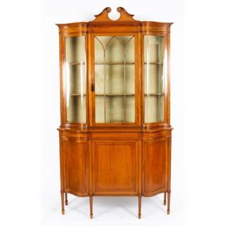 Antique Edwardian Serpentine Satinwood Inlaid Display Cabinet 19th C
