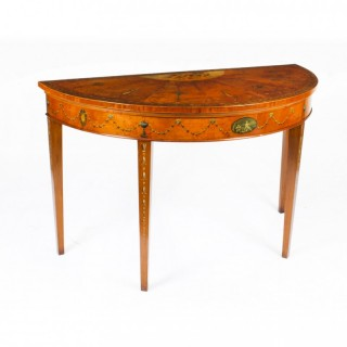 Antique George III Satinwood Demi-Lune Console Table 18th C