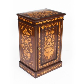 Antique Free Standing Dutch Mahogany Marquetry BedSide Cabinet Pedestal 19th C
