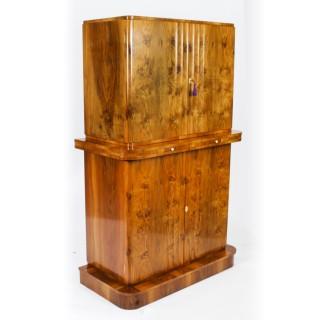 Antique Art Deco Epstein Burr Walnut Cocktail Cabinet Dry Bar c.1920
