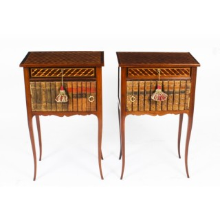 Antique Pair Ormolu Mounted Parquetry Occasional / Bedside Tables 19th C