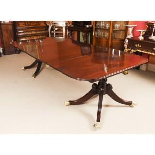 Antique Irish Regency Twin Pillar Mahogany Dining Table C1820 19th C