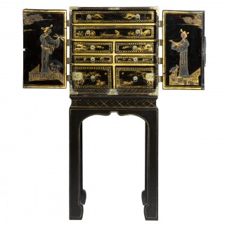 Antique Chinoiserie Black Lacquer Cabinet on Stand, 19th Century