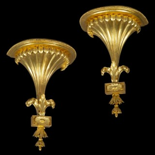 Pair of Neoclassical Giltwood Wall Brackets