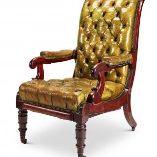 Large Regency Reclining Armchair in Worn Green Leather