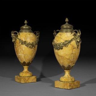Pair of Antique Neoclassical Siena Marble Urns