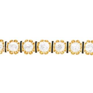 3.13 ct Diamond and 15 ct Yellow Gold Bar Brooch - Antique Circa 1890