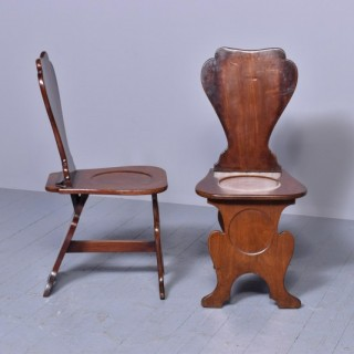 Pair of 18th Century Mahogany Sgabello Hall Chairs