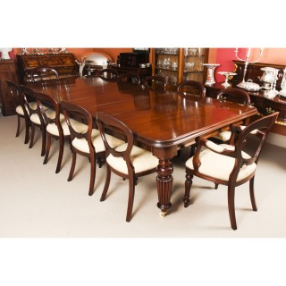 Antique 12ft Mahogany Dining Conference Table c.1850 & 12 Chairs