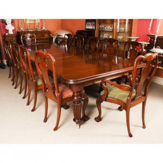 Antique 12ft Mahogany Dining Conference Table c.1850 & 12 Chairs 19th C