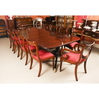 Antique Twin Pillar Regency Dining Table C1820 & 10 Regency Swag Back chairs