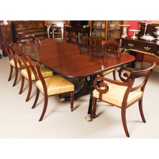 Antique Twin Pillar Regency Dining Table & 8 Regency chairs C1820 19th C