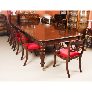Antique William IV Mahogany Dining Table & 10 Regency Dining Chairs 19th C