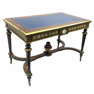 A VICTORIAN AMBOYNA WOOD AND EBONISED WRITING DESK WITH SEVRES STYLE PORCELAIN PLAQUES