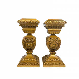 PAIR OF HEAVILY CARVED BEECH WOOD PEDESTALS