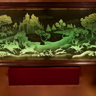 Falcon and Hunting Interest Magnificent Art Deco Illuminated Etched and Engraved Very large Glass Wall Decoration.