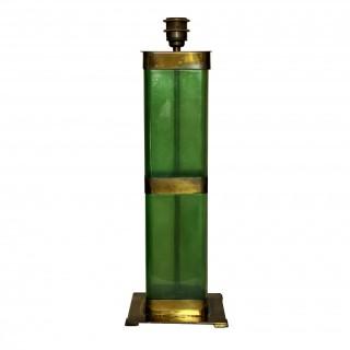 AN ITALIAN EMERALD GREEN GLASS LAMP