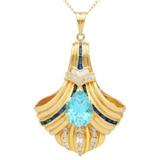8.63ct Topaz, 0.69ct Sapphire and 0.88ct Diamond, 18ct Yellow Gold Pendant - Vintage Circa 1980