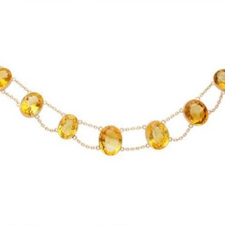 124.21ct Citrine and 9ct Rose Gold Riviere Necklace - Antique Circa 1890