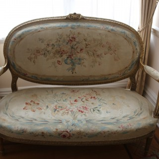 A exquisite suite of mid 19th century French furniture with its original Aubusson tapestry