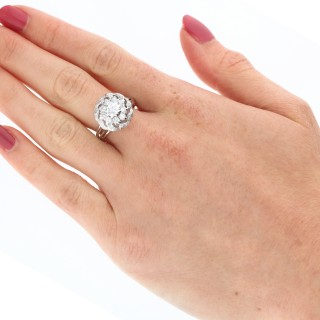1.39 ct Diamond and 18 ct White Gold Cluster Ring - Vintage Circa 1950