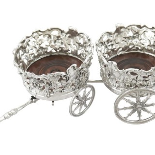 Sterling Silver Double Coaster Trolley - Antique Victorian (1839)