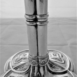 Unusual set 4 crested early George III silver candle sticks London 1765/6 Hannam & Crouch