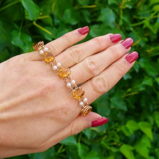 30.12ct Citrine and Pearl, 9ct Yellow Gold Bracelet - Vintage (1967)