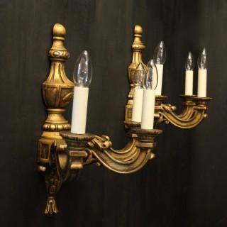 English Pair Of Giltwood Triple Arm Wall Lights