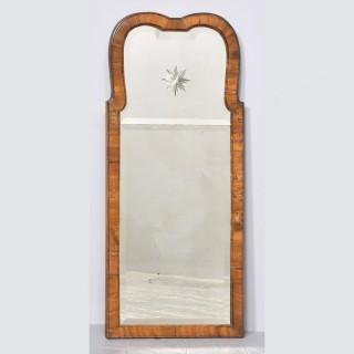 Queen Anne Style Walnut Wall Mirror.