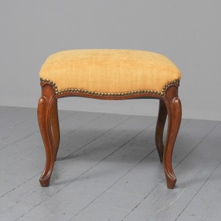 Victorian Carved Walnut Cabriole Leg Stool
