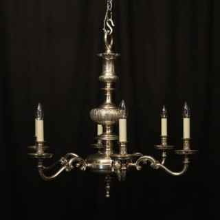 English Silver Plated 6 Light Antique Chandelier
