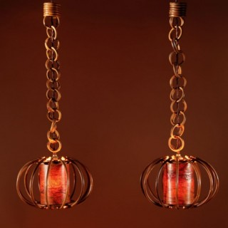 A pair of 1960s Very Decorative Rattan Hanging Lights.