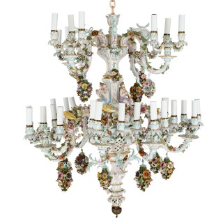 Large Rococo style porcelain chandelier by Meissen