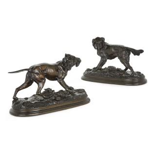 Pair of animalier bronze dog sculptures by Jules Moigniez