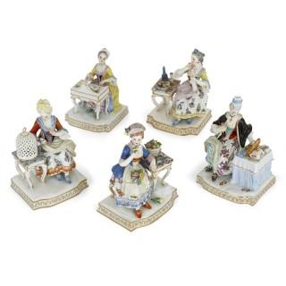 Set of five allegorical porcelain sculptures by Meissen