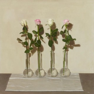 'Four Pink and White Roses' by Siân Hopkinson (born 1967)