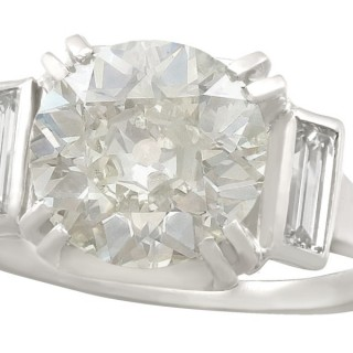 3.41ct Diamond and Platinum Dress Ring - Antique and Vintage French