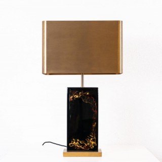 Rare lacquer table lamp by Charles Paris