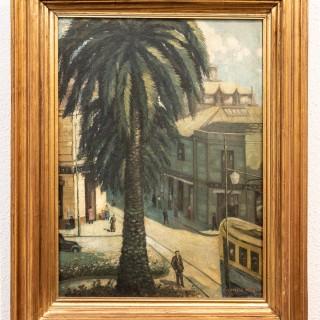 Street scene with palm tree by Camillo Mori circa 1925