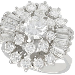 4.10 ct Diamond and 14 ct White Gold Cluster Ring - Vintage Circa 1960