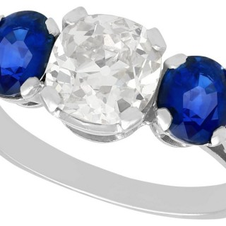 1.62ct Sapphire and 1.86ct Diamond, Platinum Trilogy Ring - Antique and Contemporary